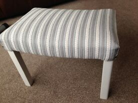 Stool new upholstery in a grey & white stripe, all in lovely condition.