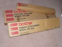 Brother KH-260 knitting machine + Ribbing attachment + Knitleader, never used, in original boxes