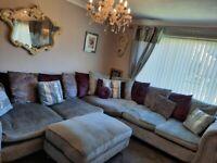 Crushed velvet 7 seater corner sofa
