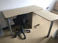 Wooden laminated desk and drawers with extractable desk extension and adjustable chair