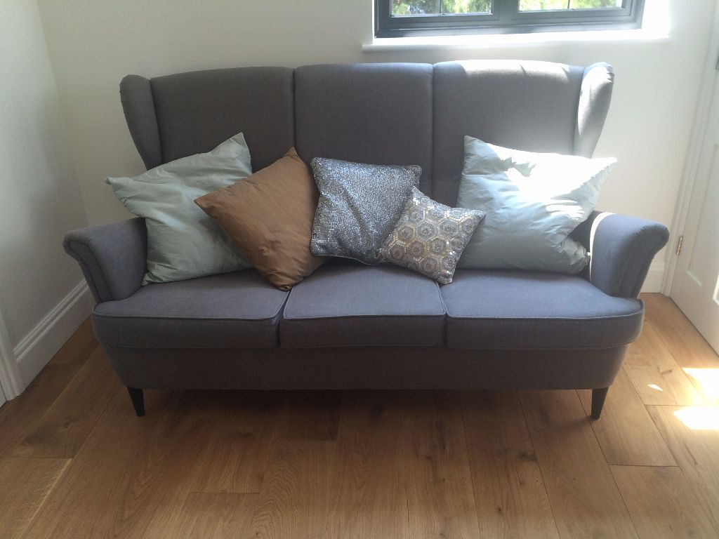 Ikea Strandmon Three Seater Grey Sofa Excellent Condition In