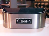 ICE BUCKET GUINNESS DRINKS CHILLER CONTAINER. POLISHED LAQUERED STAINLESS STEEL AND INNER CONTAINER