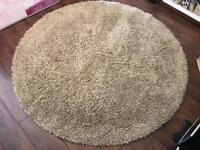 Barker and Stonehouse - Deep Pile Beige 100% Wool - Round Rug
