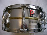 """Premier 21 beaded brass snare drum 14 x 6 1/2"""" - '80s - Leicester - Raw brass bead"""