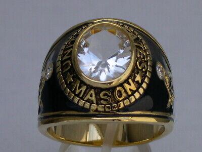 12x10 mm United States Mason Masonic April Clear CZ Stone Men Ring Size 6-15