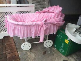 Beautiful large baby girls crib
