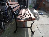 heavy cast iron bench with 2 by 3 slats