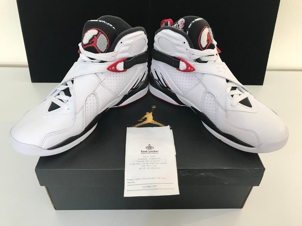 Nike Air Jordan 8 Retro -Men Shoes Color: White-Red-Black-