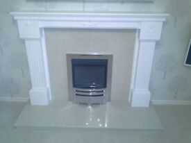 Cream marble back and hearth