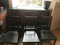 6 Black Ikea wooden chairs