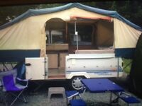 Conway cruiser folding trailer tent , with electric hook up
