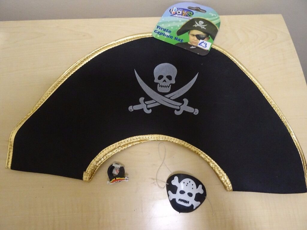 PIRATE SETHAT, PATCHRINGALL NEWin Hull, East YorkshireGumtree - PIRATE HAT, PATCH ON ELASTIC AND RING PERFECT FOR ANY LITTLE PIRATE! ALL NEW WITH TAGS WHERE APPLICABLE TO COLLECT FROM WEST HULL WOLD RD / WILLERBY RD AREA