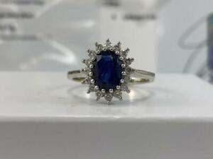 #314 14K White Gold Stunning Fancy Diamond Sapphire Ring *SIZE 6 1/2* APPRAISED AT $2950.00!