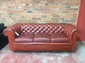 Terracota Vintage Chesterfield Leather 3 Seater Sofa - UK Delivery