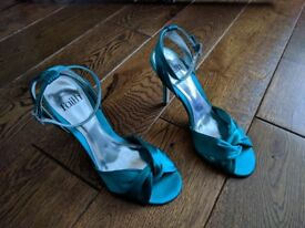 Faith Women's Sandals in Teal Green Satin (Size 4 UK / 37 EU) - Wedding Party Heels
