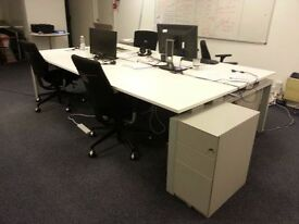 Desks - 2 units (1 showing on pic) fits up to 12 people)
