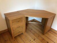 Oak corner desk and drawers