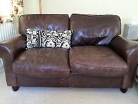 Laura Ashley Leather sofa, brown large 2 seater. In good condition