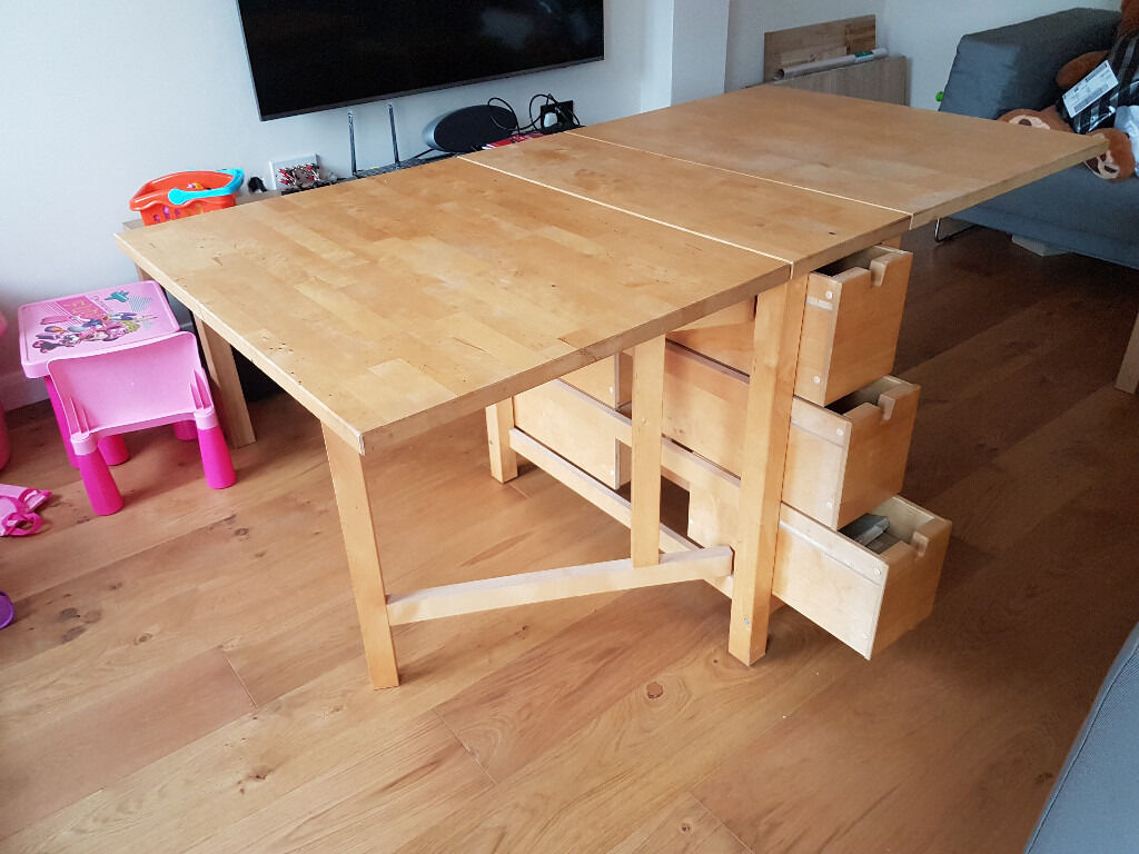 Table bois ikea norden for Extendable table ikea