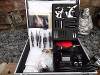 UK CASED TATTOO KIT HORIZON POWER SUPPLY 2 MACHINES INK ALL YOU NEED KILLER INK