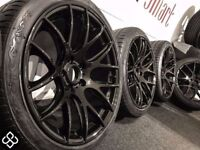 "NEW 19"" BMW CSL STYLE ALLOY WHEELS & TYRES- CARBON BLACK - 5 X 120 -Wheel Smart"