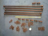 Good quality wooden curtain poles 2x3m, 1x1.5m, 30mm diameter, with all fittings