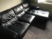 Black leather Corner couch