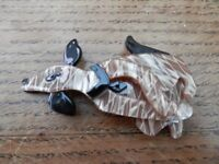 Lea Stein style brooch in form of a dog