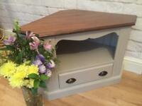 Gorgeous oak corner TV cabinet. Painted farrow & ball. Grey