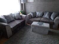 Silver crushed velvet 3 & 2 seater sofas