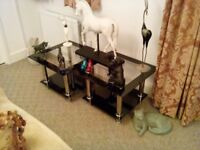 Glass and chrome side tables