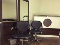 Hair salon package, salon chairs, mirrors, reception desk