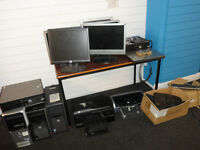 COMPUTER DESKTOP WORKSTATION & COMPUTER & MONITORS KEYBOARD PRINTER JOB LOT OFFICE CLOSURE M17 1SG