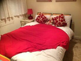 Double bed, metal frame with oak effect headboard