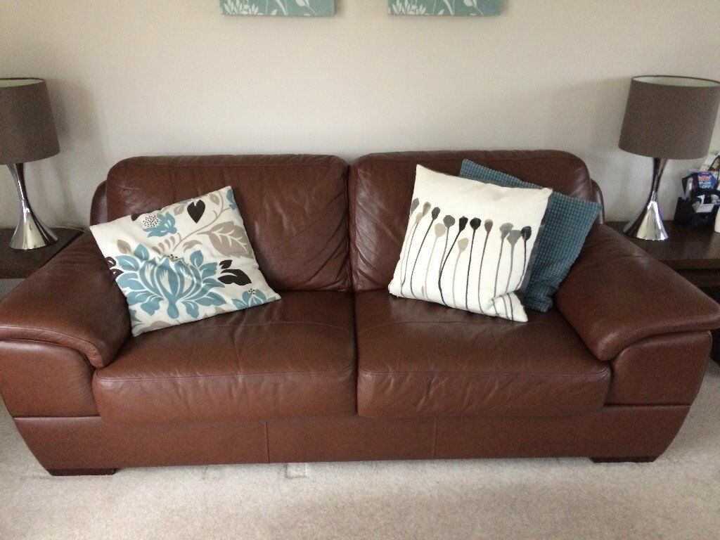 Brown Leather Large 2 Seater 3 Person Sofa In