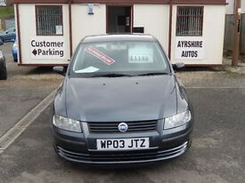 "Fiat Stilo 1.6 ""Active"" 16v 5dr, Metallic Grey. Recent Timing Belt & Water Pump."