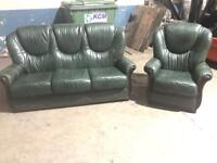 3 plus 1 green leather sofas in above average condition