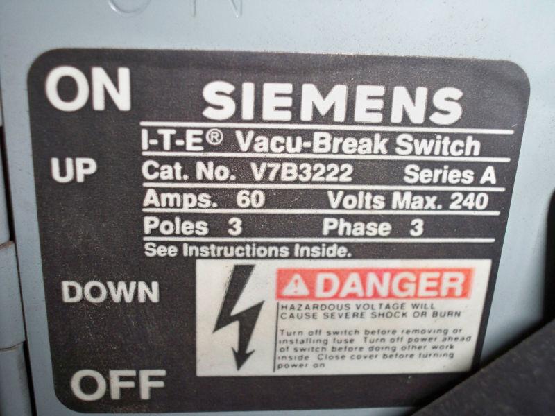 Ite / Siemens V7b3222 60a Twin 3p 240v Vacu-break Panelboard Unit Reconditioned