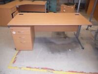 Straight Desks with FREE Pedestal/Drawer Unit and Swivel Chair