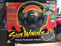 Microsoft retro force feedback sidewinder steering wheel and pedals, boxed