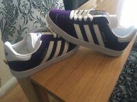 Adidas gazelles size 6 in purple suede