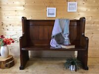 Solid pine farmhouse country wooden church pew settle monks bench hall seat dining bench