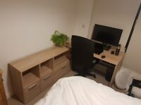 L-shaped desk, 1 yr old, perfect condition, £100, 3 drawers and 3 shelves