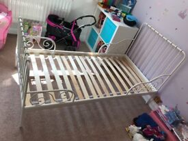 Children's bed for sale. White metal IKEA extendable bed for sale. VGC.