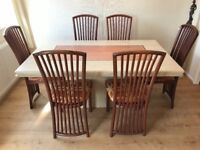 Mable dining table and 6 chairs