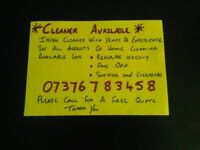 Cleaner Available Wirral Area, Experience in all aspects of home cleaning
