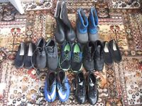 NINE PAIRS OF BOY'S BOOTS, WELLIES, FOOTBALL BOOTS, ETC