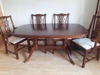 Dining table + 6 chairs and display cabinet