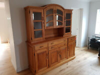 Solid Oak Sideboard and Display Unit