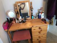 Pine Dressing Table - with stool and mirror